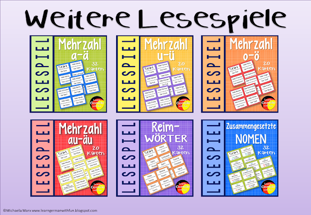 Verschiedene Lesespiele für Grundschule, Legasthenietraining und DaF