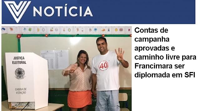 Contas de campanha aprovadas e caminho livre para Francimara ser diplomada em SFI