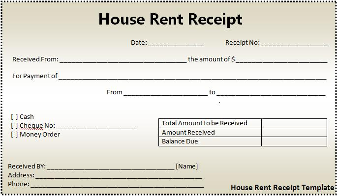 Business Templates And Project Managment Software House Rent – Rent Receipt Form