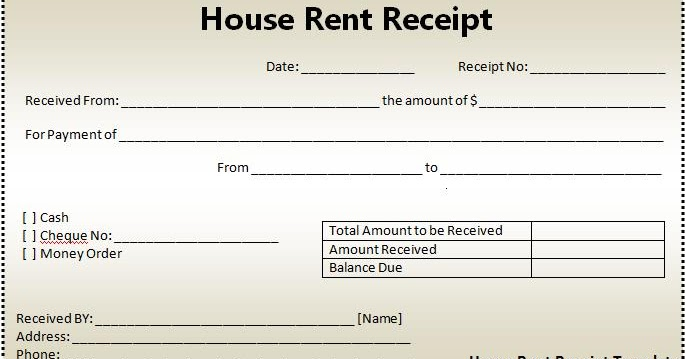 House Rent Slip House Rent Receipt Free Download  Free Rent