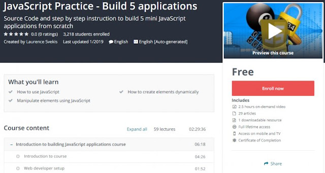 [100% Free] JavaScript Practice - Build 5 applications