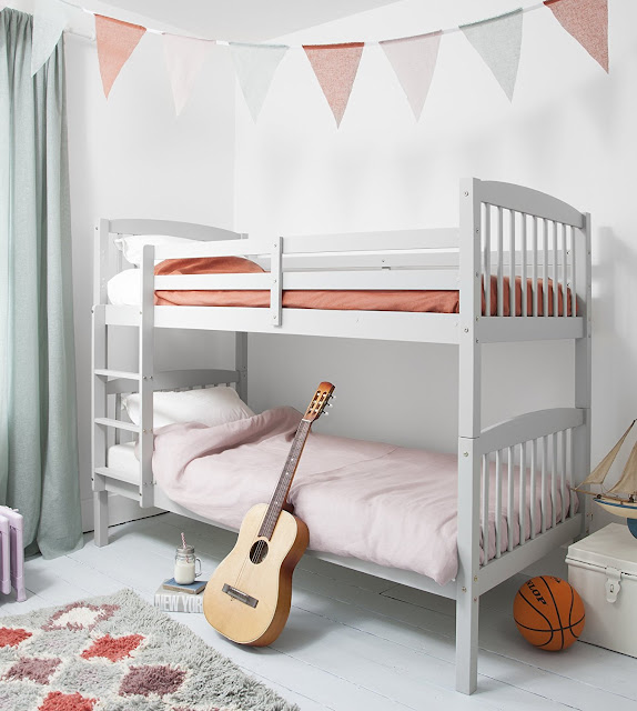 single traditional white simple bunk bed