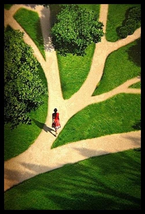 Paisagem com uma estrada em meio a natureza, como se formasse galhos de uma grande árvore. Uma jovem caminha em frente,escolhendo sua direção.