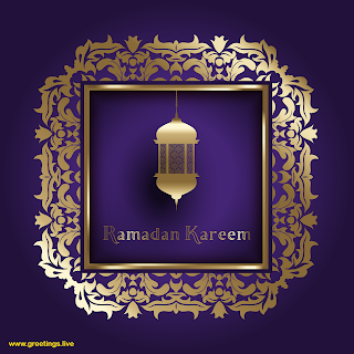Ramadan kareem Image Golden Lantern islamic decoration design frame