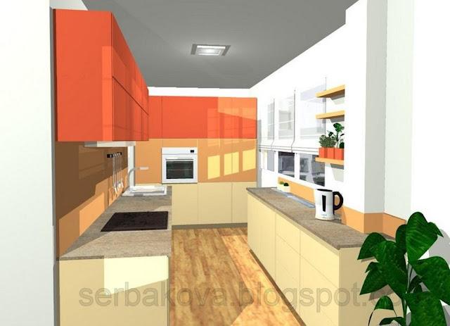 Дизайн кухни с о столешницей под окном 193