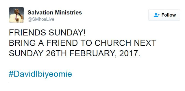 Salvation Ministries Decleared Sunday 26th of February is 'Friends Sunday'