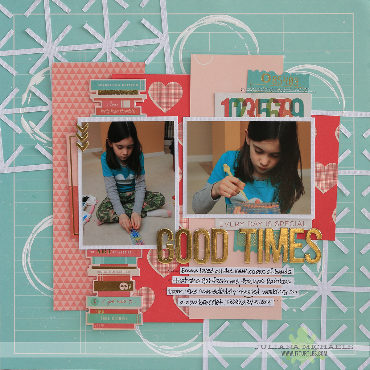 Good Times Rainbow Loom Scrapbook Page Fun with Background Digital Cut Files by Juliana Michaels featuring 17turtles Digital Cut Files