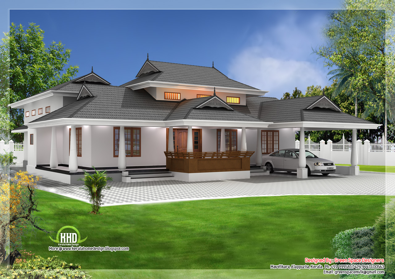 Traditional single storey ed naalukettu with nadumuttam for One level farmhouse plans