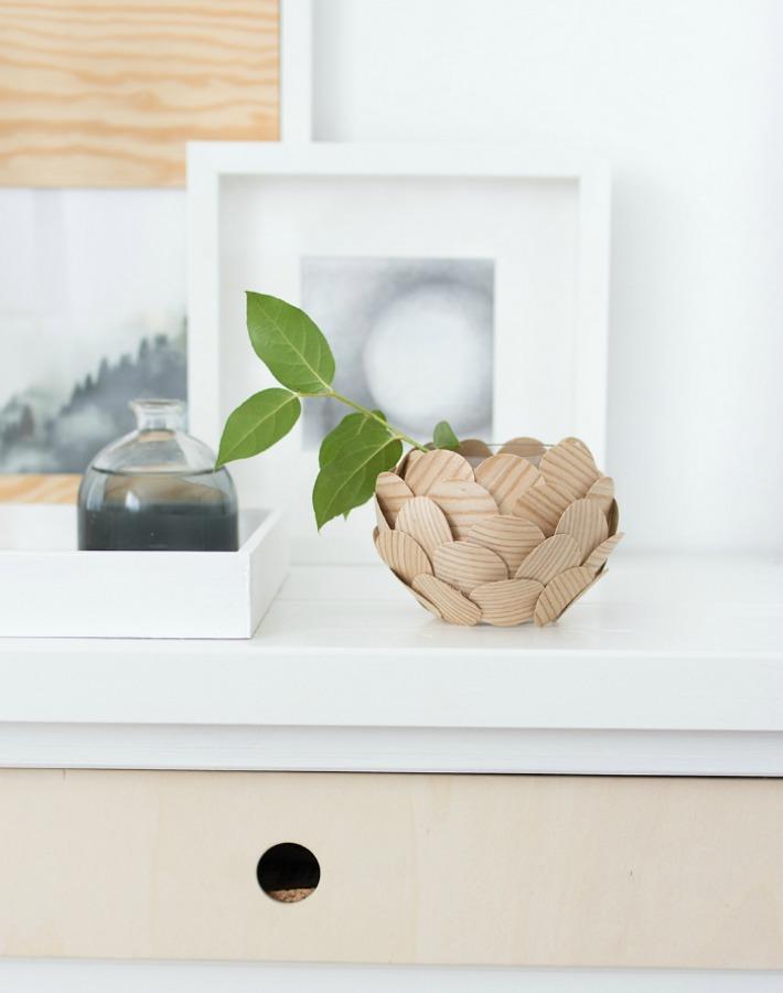 Diy portavelas decorado con círculos de madera