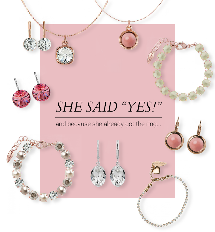This collage shows the different products we have selected as an Engagement present for your girl friends.