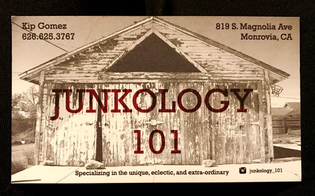 Business card for Junkology 101