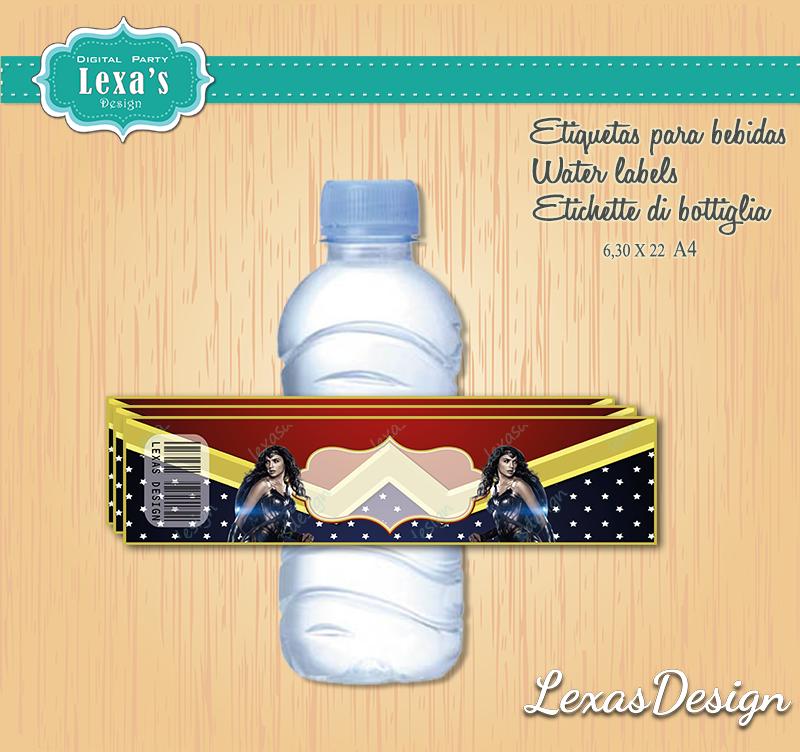 Etiquetas Jugo, Agua gratis Mujer Maravilla Wonder Woman