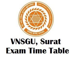 VNSGU Surat Time Table 2018