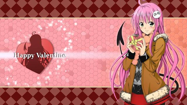 Walentynkowa tapeta z anime w rozdzielczości Full HD - Szczęśliwych Walentynek z czekoladkami