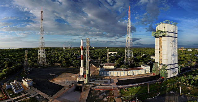 Panoromic view of PSLV-C35 at First Launch Pad. Photo Credit: ISRO