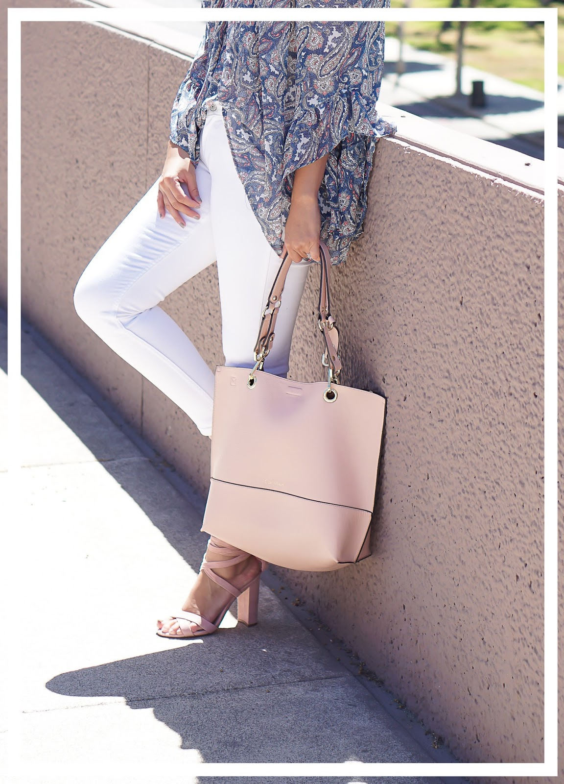 Fashion, Off the shoulder top, White Levis Jeans, Steve Madden Christey Heels, Steve Madden Blush Pink Heels, Calvin Klein Blush Pink Bag