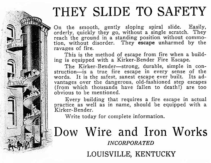 a 1919 school fire-escape slide, illustrated advertisement, Dow Wire and Iron Works inc. Louisville Kentucky