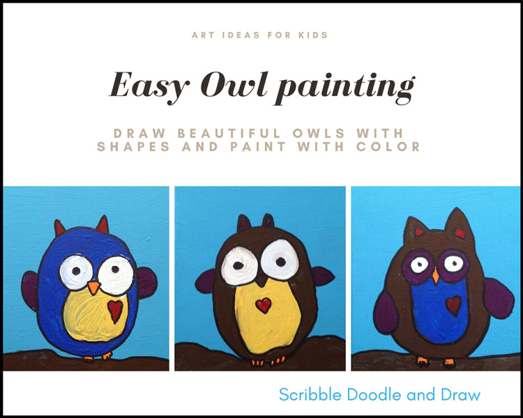 Easy owl painting lesson for kids