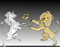 Lion and unicorn fighting for the crown