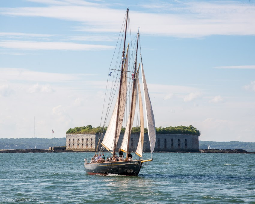 Portland, Maine USA August 2017 photo by Corey Templeton. Portland Schooner Co.'s Bagheera sailing in front of Fort Gorges in last weekend's nice weather.