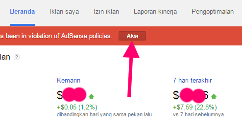 mengatasi peringatan google adsense