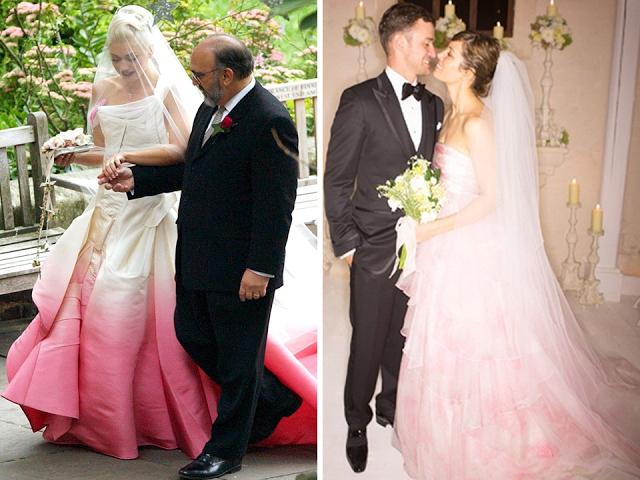vestidos de noiva cor de rosa gwen stefani