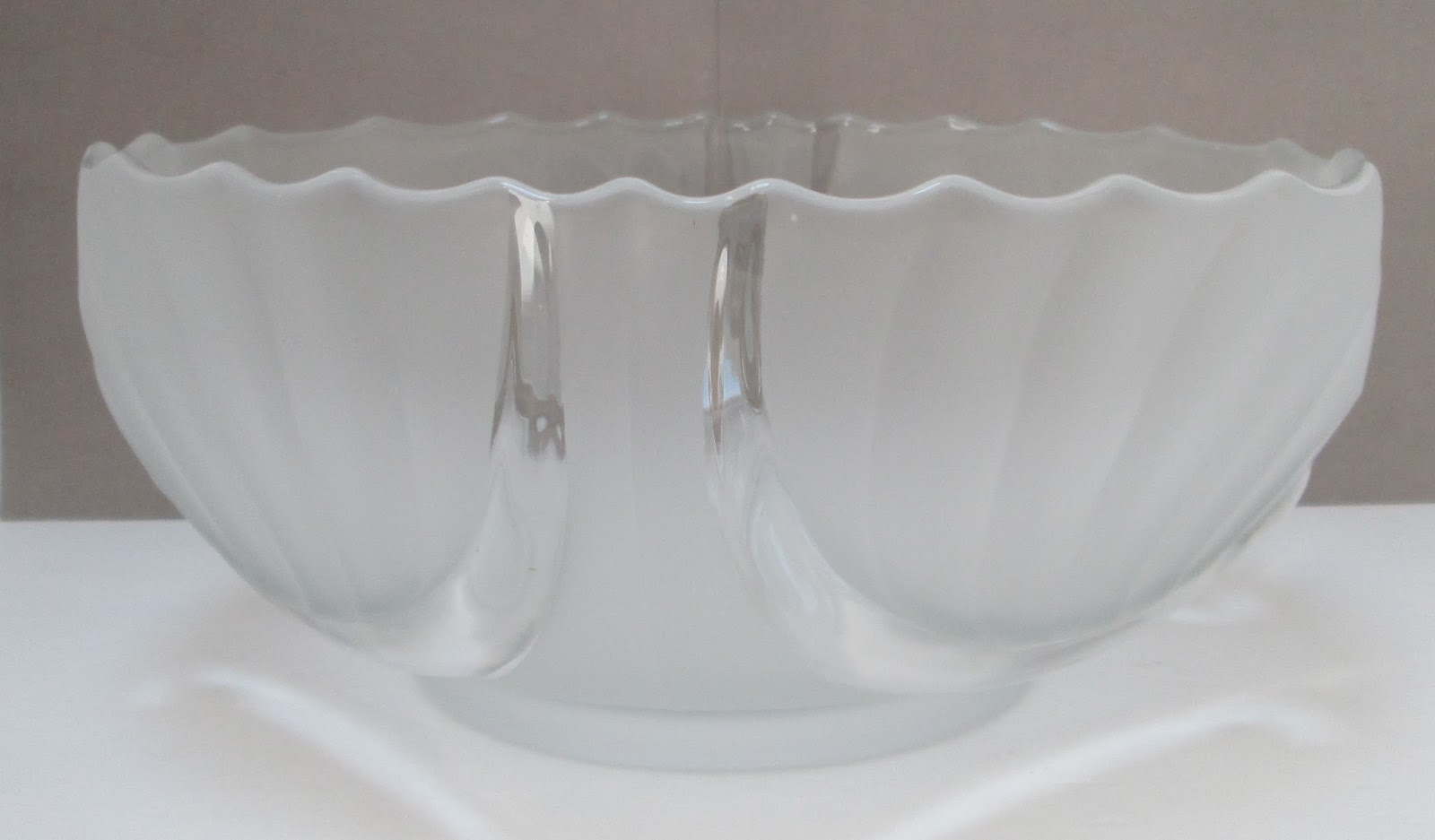 Art Deco Crystal Centerpiece Footed Bowl Frosted and Clear