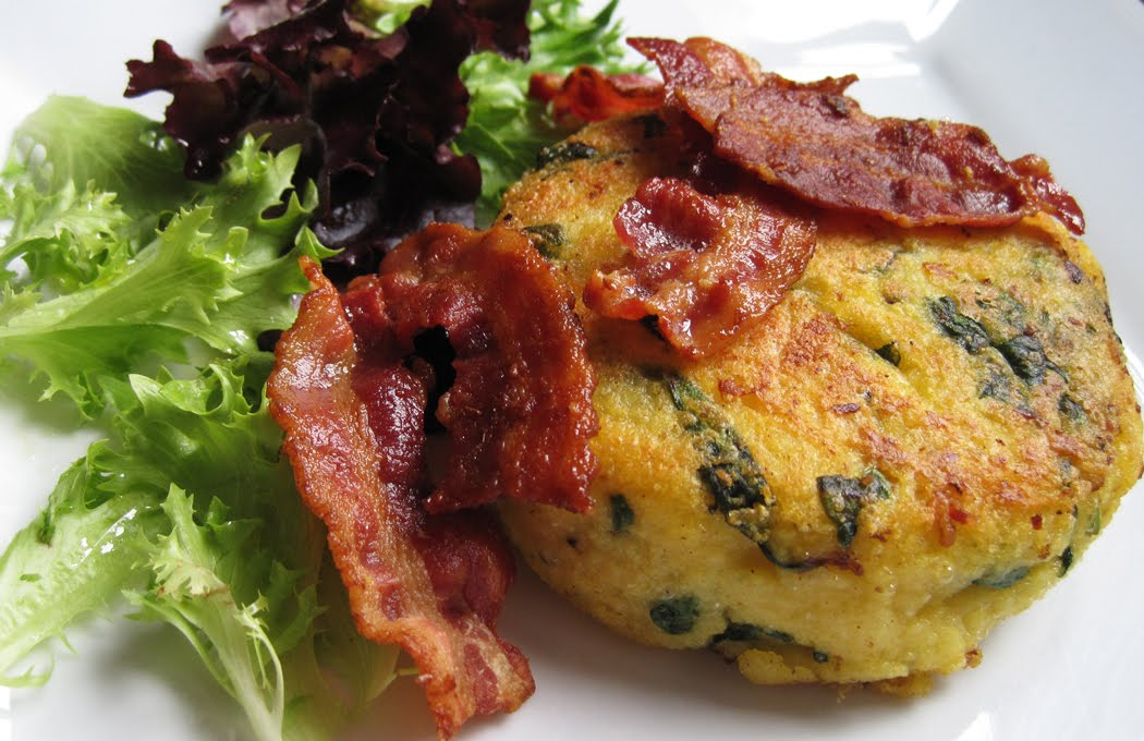 Parmesan and Spinach Polenta with Pan-fried with Crispy Bacon