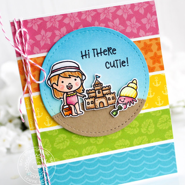 Sunny Studio Stamps: Coastal Cuties Beach Babies Seasonal Trees Sending Sunshine Summer Themed Friendship Cards by Eloise Blue and Leanne West