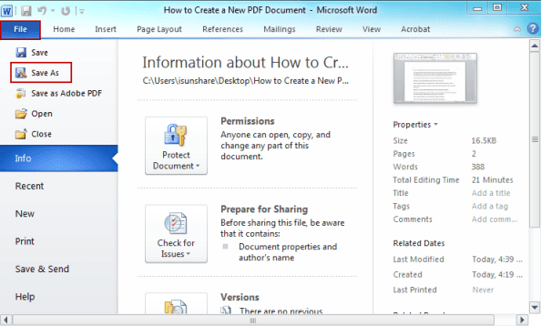 word to pdf security options