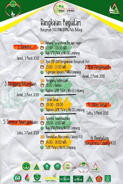 Poster Rangkaian Konfercab XVI IPNU IPPNU Kabupaten Batang