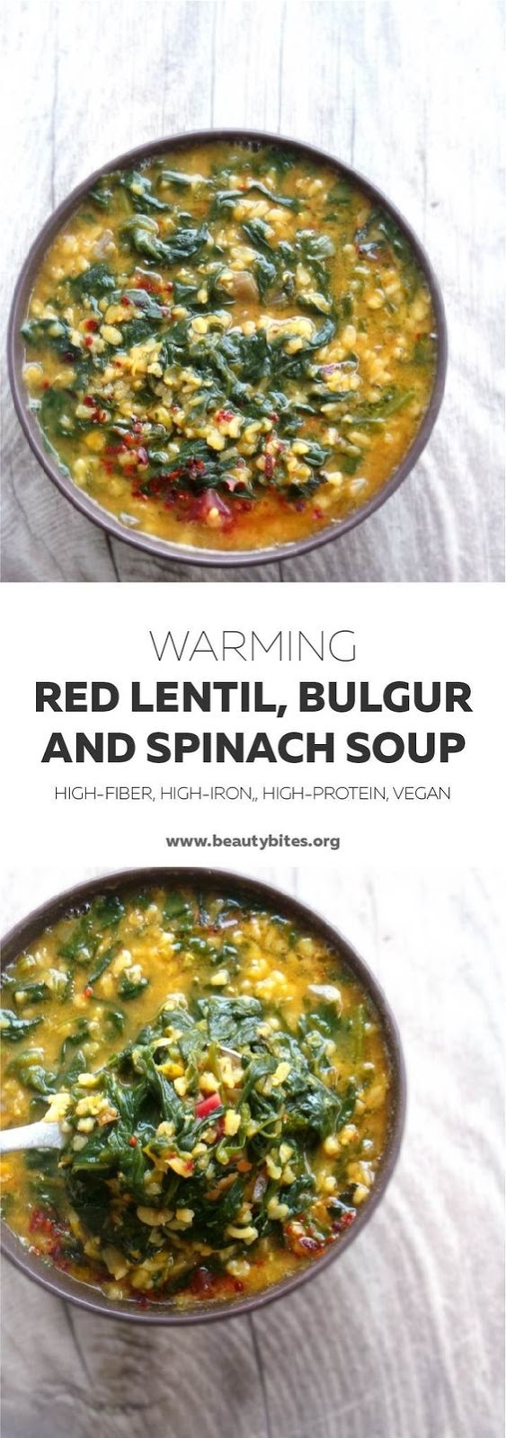 1 Pot Warming Bulgur, Red Lentil And Spinach Soup