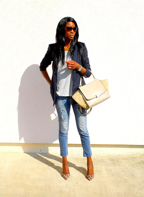 Sac Celine trapeze  jeans dechire Zara escarpins leopard look working girl