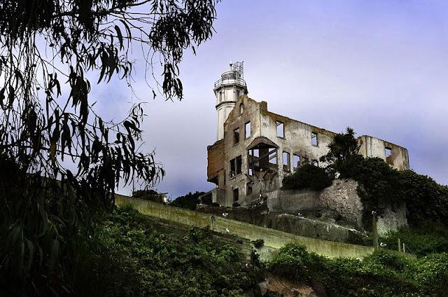 Landscape old architecture building at Alcatraz Island