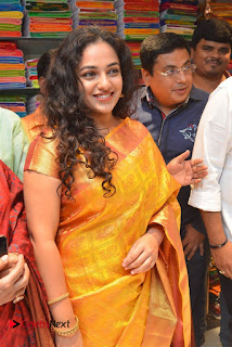 Actress Nithya Menen Pictures in Silk Saree at Kalamandir 25th Store Launch  0003