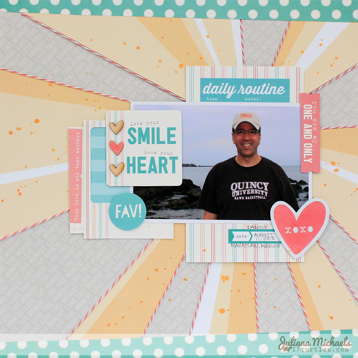 Love Your Smile Scrapbook Page by Juliana Michaels featuring Elle's Studio August 2014 Kit