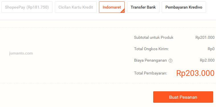Biaya Admin Bayar Shopee di Indomaret Terbaru