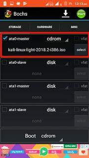 Bochs storage settings