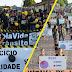 Uma multidão participa da caminhada pela prevenção de acidentes de trânsitos em Baixa Grande do Ribeiro