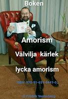 Bild på Författaren läser boken Amorism Välvilja kärlek lycka ISBN 978-91-631-6441-5