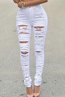 Jeans Skinny cu talie inalta si aspect distrus