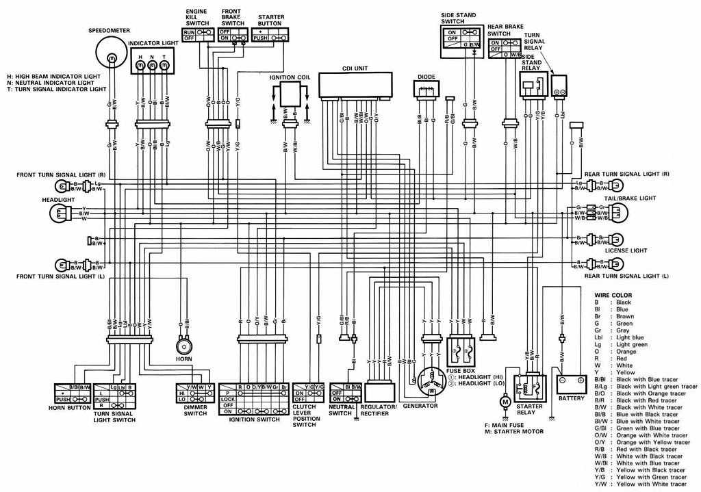 suzuki dr650 motorcycle complete electrical wiring diagram