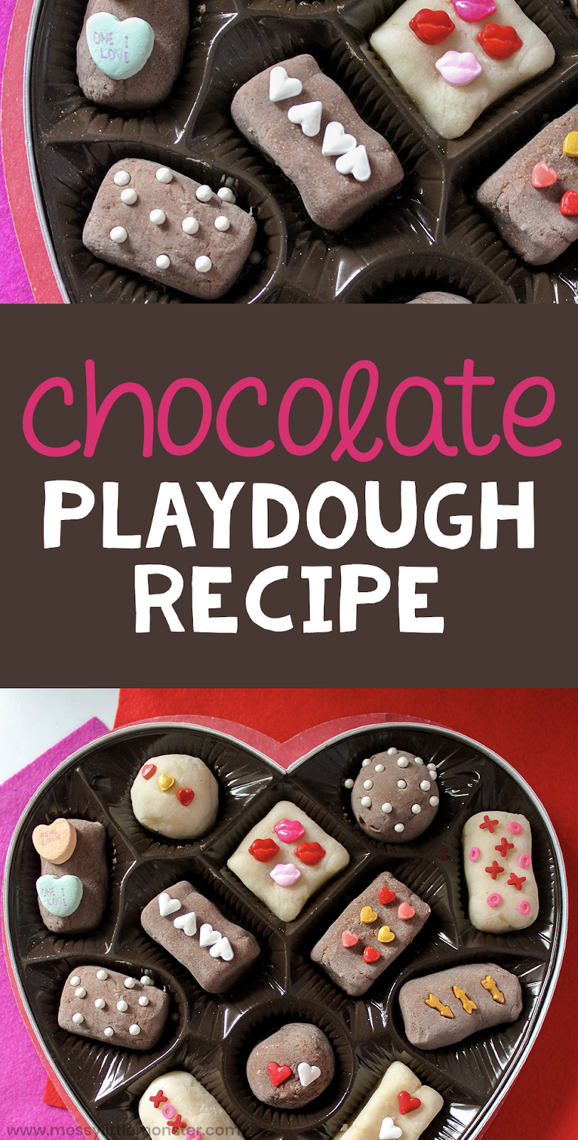 How to make chocolate playdough. Follow our easy chocolate playdough recipe and have fun using it to make a box of playdough chocolates.