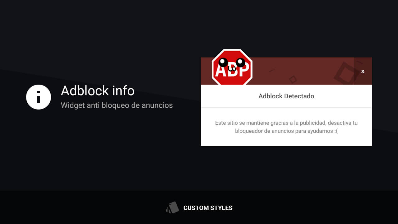 desactivar AdBlock con un mensaje de advertencia
