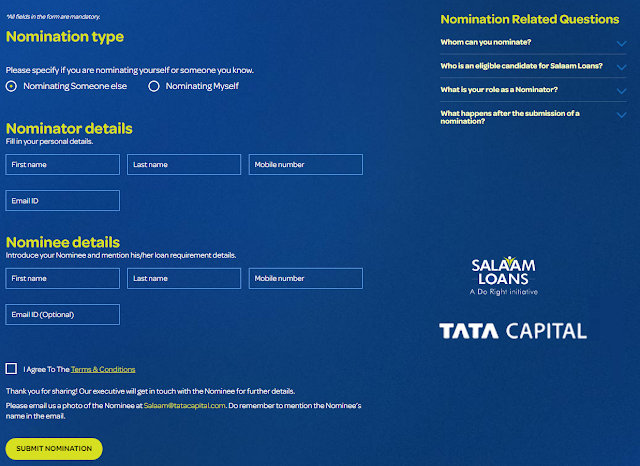 Salaam Loans with likes by tata capitals at www.doright.in website