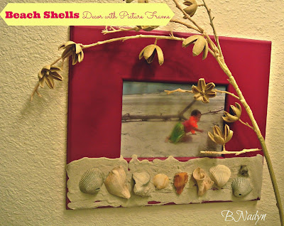 Beach theme decor, DIY sea shell picture frame
