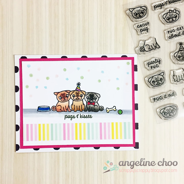 ScrappyScrappy: August NEW Release with Sweet Stamp Shop - Pugs Life #scrappyscrappy #sweetstampshop #card #cardmaking #stamp #stamping #coloring #pugs #copic #washi #papercraft