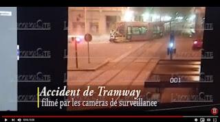 لحظة اصطدام شاحنة بترامواي البيضاء2018