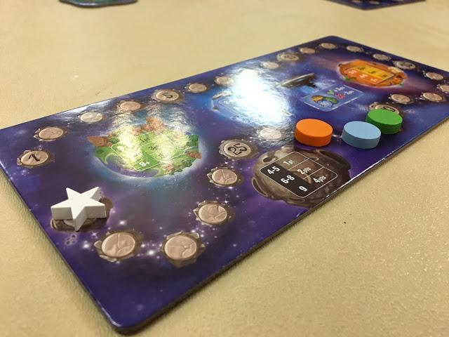 Scoreboard and score tokens for Kaosmos Cosmic Factory by Kane Klenko