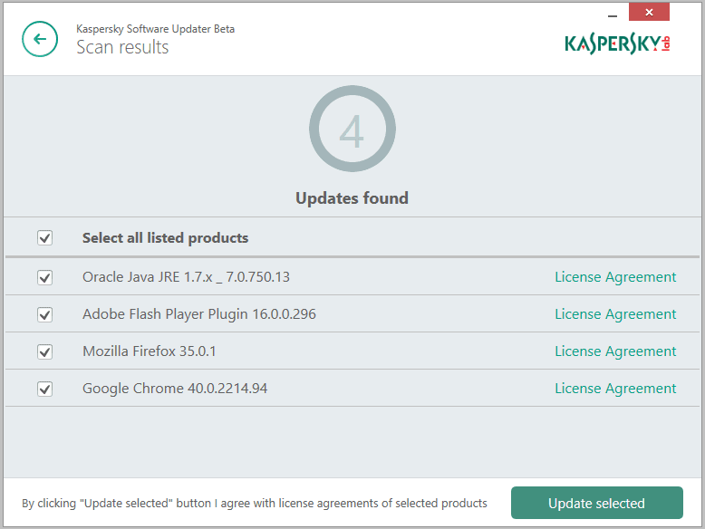 Kaspersky Software Updater risultato scansione
